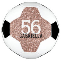 Rose Gold Pink Sparkly Number and Name Soccer Ball