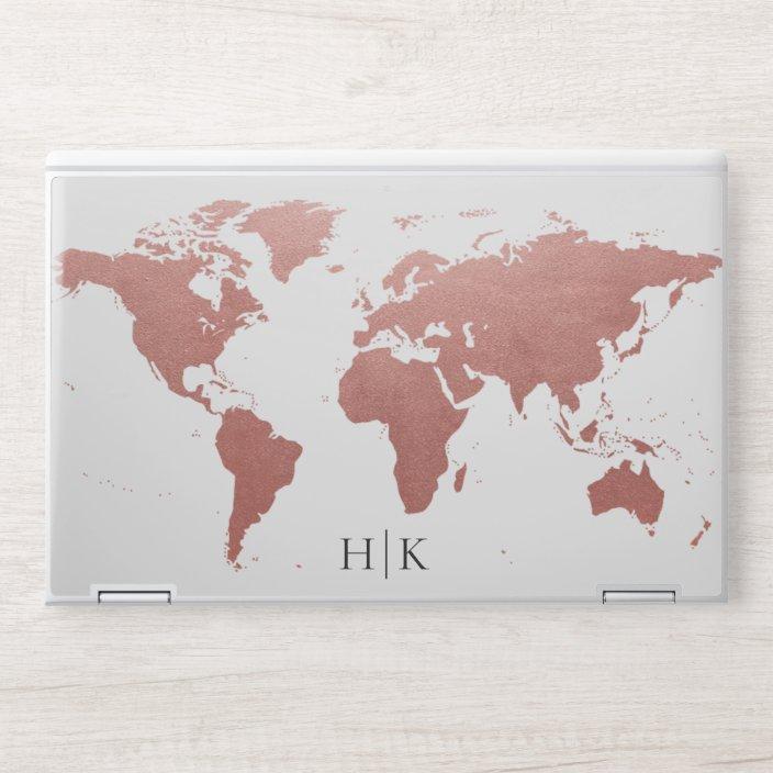 Rose Gold Pink World Map Monogram Hp Laptop Skin Zazzle Com