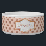 "Rose Gold Polka Dot Custom Pet Bowl<br><div class=""desc"">Chic white ceramic pet food / water bowl, with graphics of blush and rose gold polka dot pattern. Graphics of a decorative text area, on the front, has rose colored text ready to personalize, for your pet or as a great gift idea for any pet owner. Matching pet bed available....</div>"