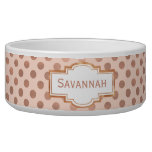 Rose Gold Polka Dot Custom Pet Bowl<br><div class='desc'>Chic white ceramic pet food / water bowl, with graphics of blush and rose gold polka dot pattern. Graphics of a decorative text area, on the front, has rose colored text ready to personalize, for your pet or as a great gift idea for any pet owner. Matching pet bed available....</div>