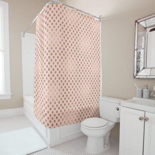 Rose Gold Polka Dot Shower Curtain