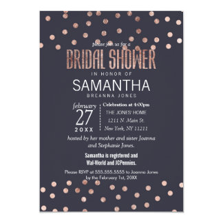 Rose Gold Polka Dots and Navy Blue Bridal Shower Card