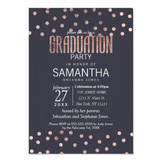 Rose Gold Polka Dots and Navy Blue Graduation Card