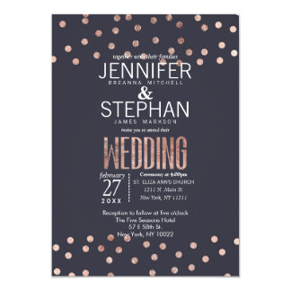 Rose Gold Polka Dots and Navy Blue Wedding Invites