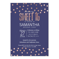 Rose Gold Polka Dots Light Navy Blue Sweet 16 Card