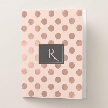 Professional Business Rose Gold Polka Dots Monogrammed Pocket Folders