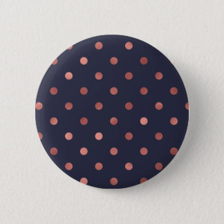 Rose Gold Polka Dots on Navy Background Button