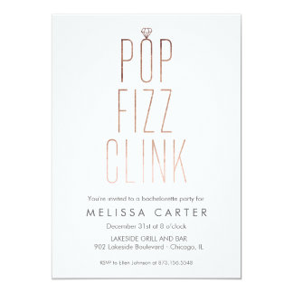 Rose Gold Pop Fizz Clink Bachelorette Faux Foil Card