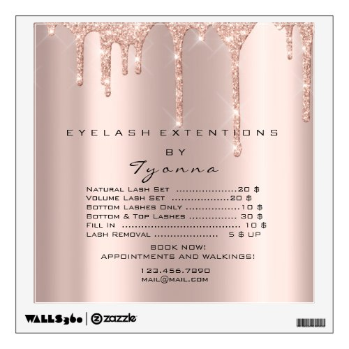 Rose Gold Price List Makeup Artist Lashe Extension Wall Decal