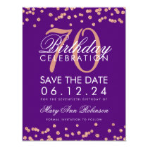 Rose Gold Purple 70th Birthday Save Date Confetti Card