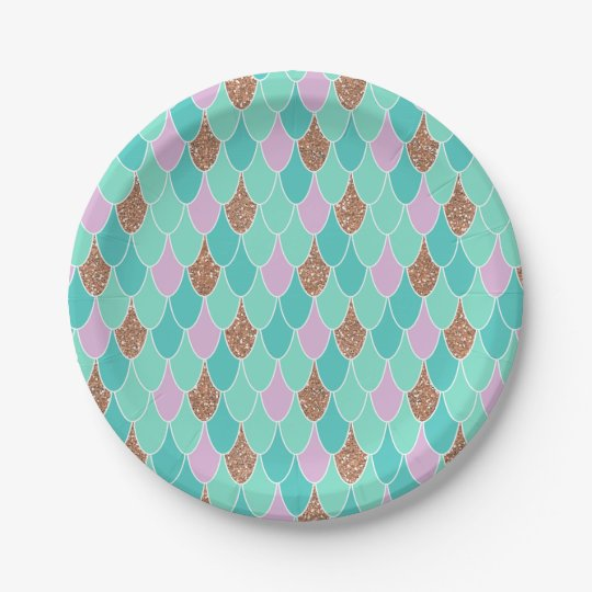 Rose Gold Purple Mermaid Party Paper Plates | Zazzle.com