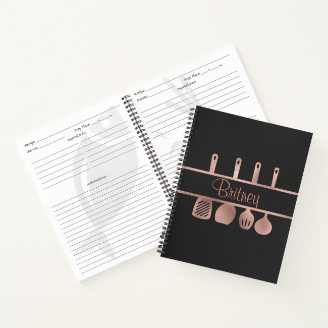 Rose Gold Recipe Cookbook Utensils Personalized Notebook