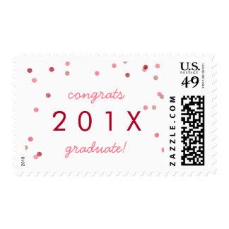 Rose Gold & Red Confetti Graduation Announcement Postage