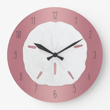 Beach Themed Rose Gold Sand Dollar Beach Numbers Large Clock