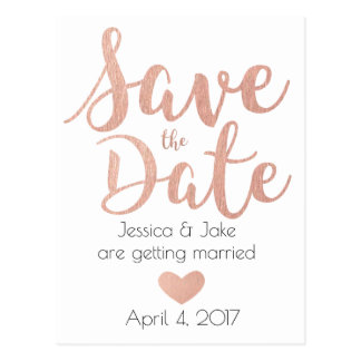 Rose Gold, Save the Date Postcard