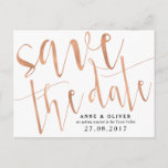 """Rose Gold Save the Date Postcard Rustic<br><div class=""""desc"""">Congratulations on your engagement! Get the word out there with this rose gold save the date in postcard style - or delete the background and send as a normal card with an envelope. To customise,  simple add your wording into the template or select 'customise further' to move wording around.</div>"""