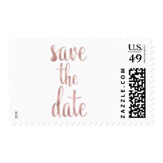 Rose gold save the date stamps, script font, med postage