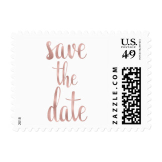 Rose gold save the date stamps, script font postage
