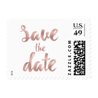 Rose gold save the date stamps- small postage