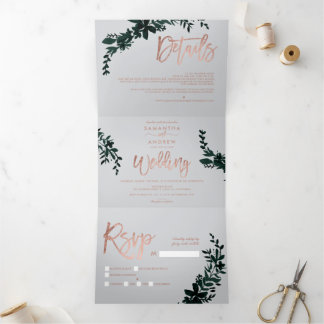 Rose gold script Floral green grey chic wedding Tri-Fold Invitation