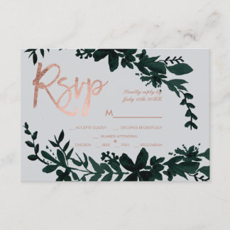 Rose gold script Floral green grey rsvp wedding