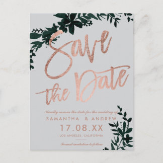 Rose gold script Floral green grey save the date Announcement Postcard