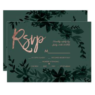 Rose gold script Floral green rsvp wedding Card