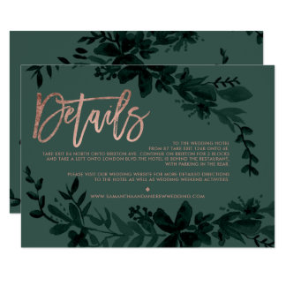 Rose gold script Floral green wedding direction Card
