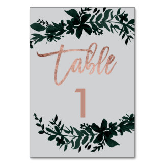 Rose gold script Floral grey wedding table number