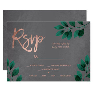 Rose gold script green leaf cement rsvp wedding card