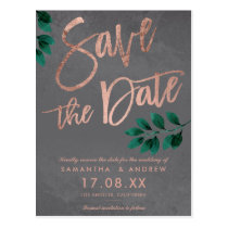 Rose gold script green leaf cement save the date postcard