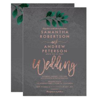Rose gold script green leaf cement wedding invitation