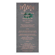 Rose gold script green leaf cement wedding menu