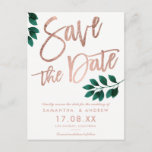 """Rose gold script green leaf white save the date announcement postcard<br><div class=""""desc"""">Rose gold script green leaf white save the date Wedding Invitation Collection. Send your save the date card with this elegant faux rose gold typography with watercolor green leaf foliage on white perfect for industrial chic style wedding</div>"""