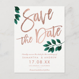 Rose gold script green leaf white save the date announcement postcard