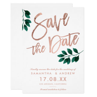 Rose gold script green leaf white save the date card