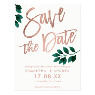 Rose gold script green leaf white save the date postcard