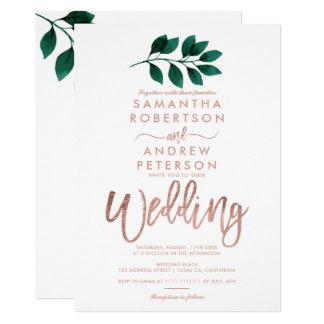Rose gold script green leaf white wedding invitation