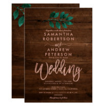 Rose gold script green leaf wood wedding invitation