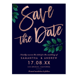 Rose gold script leaf navy blue save the date postcard