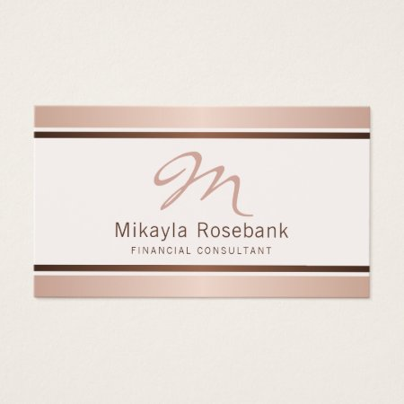 Rose Gold Script Monogram Professional Fianancial Consultant Business Cards Template