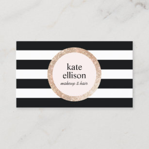 Sequin business cards zazzle rose gold sequin black white striped beauty salon business card colourmoves