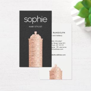 Hairstylist business cards templates zazzle rose gold sequin hairstylist black beauty salon business card colourmoves