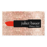 Rose Gold Sequin Makeup Artist Lipstick Beauty Double-Sided Standard Business Cards (Pack Of 100)