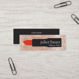 Lipstick business cards templates zazzle rose gold sequin makeup artist lipstick beauty mini business card colourmoves