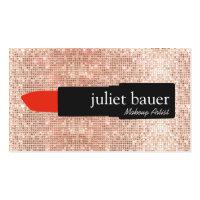 Rose Gold Sequin Modern Makeup Artist Lipstick Business Card
