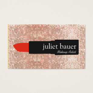 Lipstick business cards templates zazzle rose gold sequin modern makeup artist lipstick business card colourmoves Gallery
