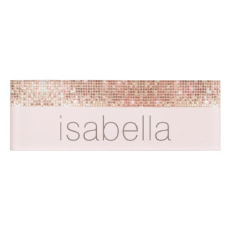 Rose Gold Sequins Pink Salon Spa Employee Name Tag