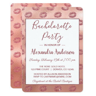 Rose Gold Sexy Lipstick Bachelorette Party Card