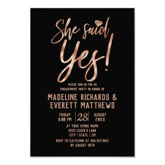 Rose Gold She Said Yes Engagement Party Invite